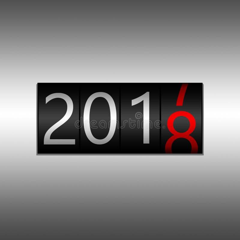 2018 Νέο μαύρο οδόμετρο έτους στο γκρίζο υπόβαθρο - νέο έτος 2018 ελεύθερη απεικόνιση δικαιώματος