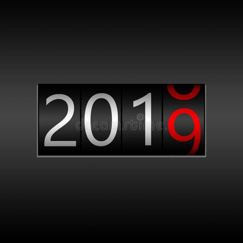 2019 Νέο μαύρο οδόμετρο έτους στο γκρίζο υπόβαθρο - νέο έτος 2019 ελεύθερη απεικόνιση δικαιώματος