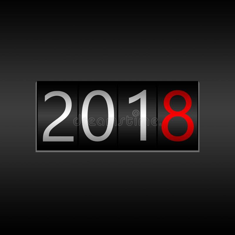 2018 Νέο μαύρο οδόμετρο έτους στο μαύρο υπόβαθρο - νέο έτος 201 απεικόνιση αποθεμάτων