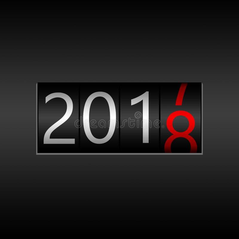 2018 Νέο μαύρο οδόμετρο έτους στο μαύρο υπόβαθρο - νέο έτος 201 ελεύθερη απεικόνιση δικαιώματος