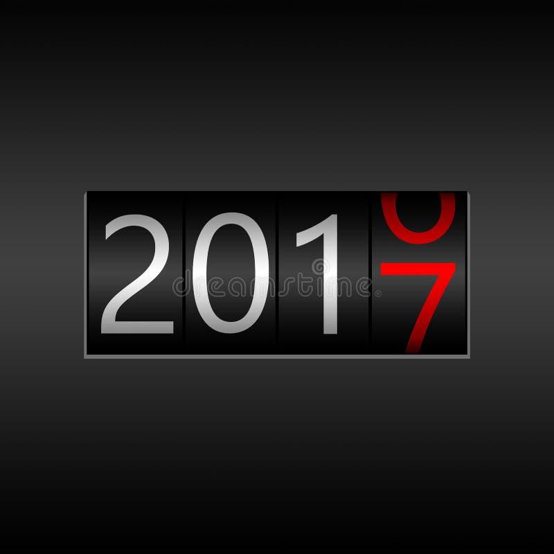2017 νέο μαύρο οδόμετρο έτους - νέο σχέδιο έτους 2017, οδόμετρο ST απεικόνιση αποθεμάτων