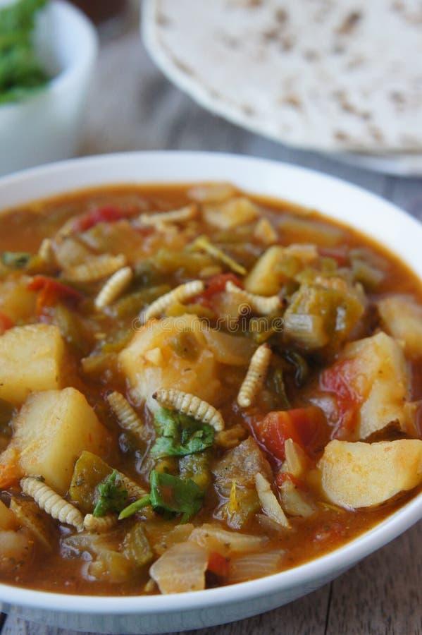 Νέο μεξικάνικο πράσινο Stew της Χιλής με Waxworms στοκ εικόνα με δικαίωμα ελεύθερης χρήσης