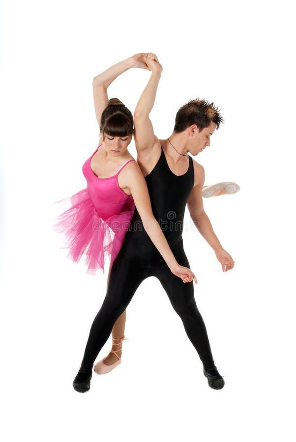 Νέο μπαλέτο χορού ζευγών που απομονώνεται στοκ φωτογραφία
