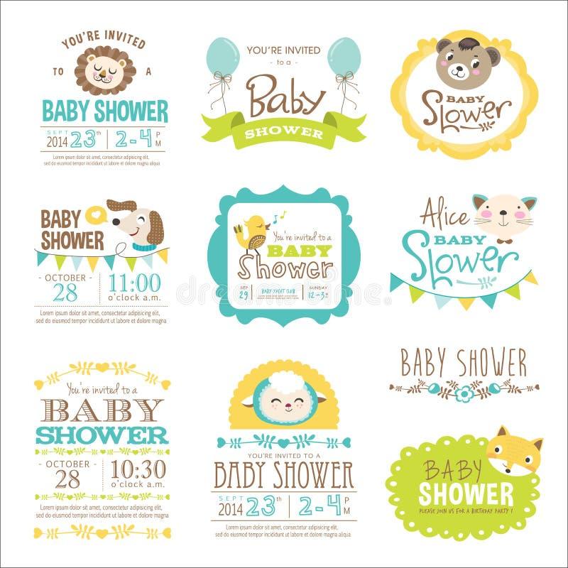 νέο ντους καρτών αγοριών μωρών γεννημένο απεικόνιση αποθεμάτων