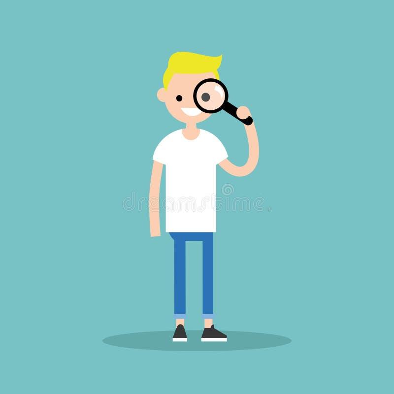 Νέο ξανθό αγόρι που κοιτάζει μέσω της ενίσχυσης - το γυαλί/το επίπεδο εκδίδει διανυσματική απεικόνιση