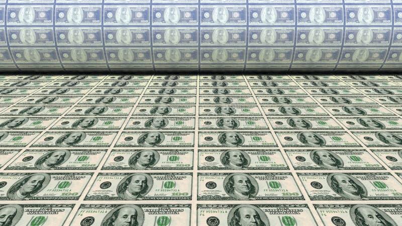 Νέο 100 δολάριο χρημάτων εκτύπωσης Bill διανυσματική απεικόνιση