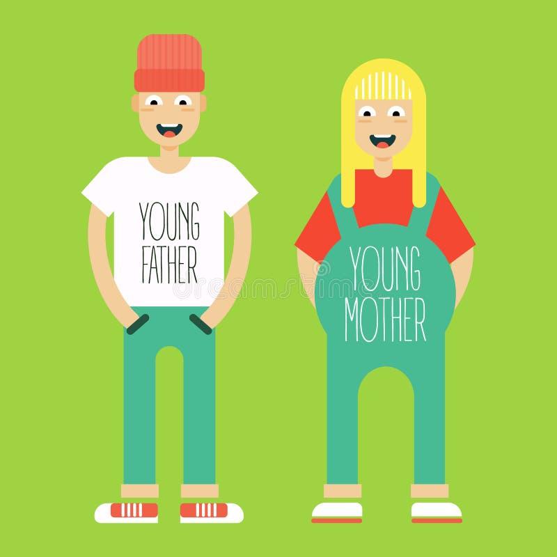 Νέο παντρεμένο ζευγάρι στην προσδοκία του εγκαύματος παιδιών διανυσματική απεικόνιση