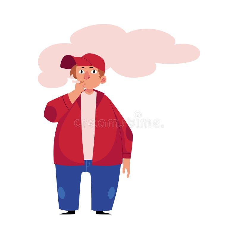 Νέο παχουλό, παχύ, παχύσαρκο άτομο που καπνίζει ένα τσιγάρο διανυσματική απεικόνιση