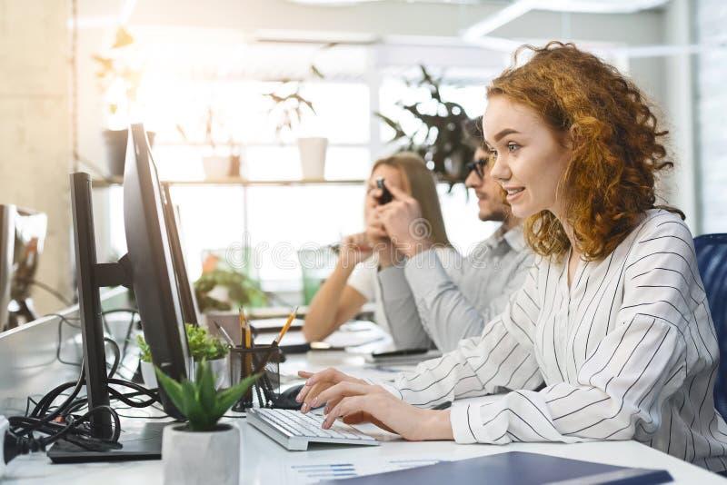 Νέο πολυάσχολο προσωπικό των υπαλλήλων που εργάζονται στους υπολογισ στοκ εικόνες με δικαίωμα ελεύθερης χρήσης