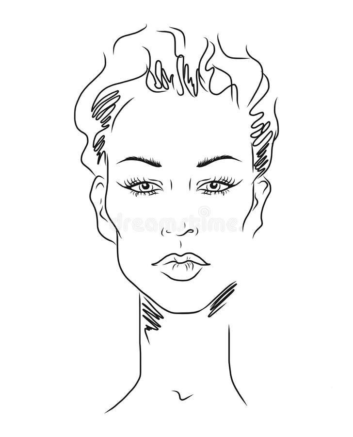 Νέο πρόσωπο γυναικών, σκίτσο μόδας, γραπτό γραμμικό σχέδιο προσώπου Διανυσματική απεικόνιση, αφίσα, έμβλημα, λογότυπο διανυσματική απεικόνιση