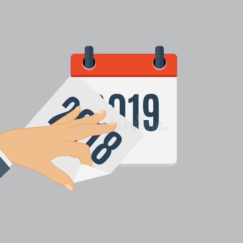 2019 νέο πρότυπο ημερολογιακών οριζόντια καθημερινό εικονιδίων έτους Διανυσματικό έμβλημα απεικόνισης Στοιχείο του σχεδίου για τα διανυσματική απεικόνιση