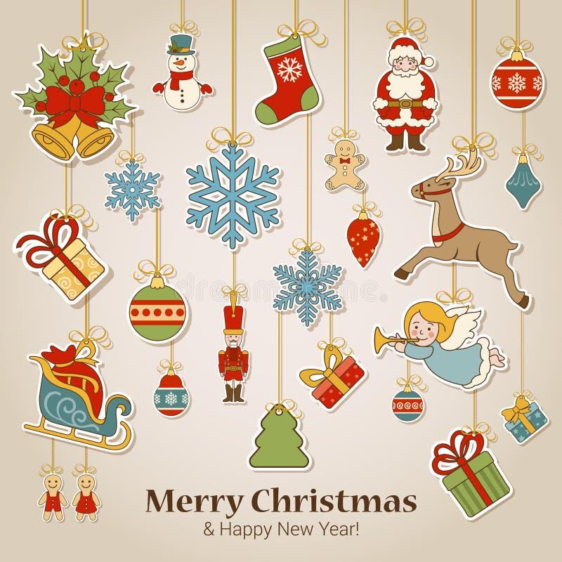 Νέο πρότυπο καρτών διακοσμήσεων ετικετών αυτοκόλλητων ετικεττών έτους Χριστουγέννων διανυσματική απεικόνιση