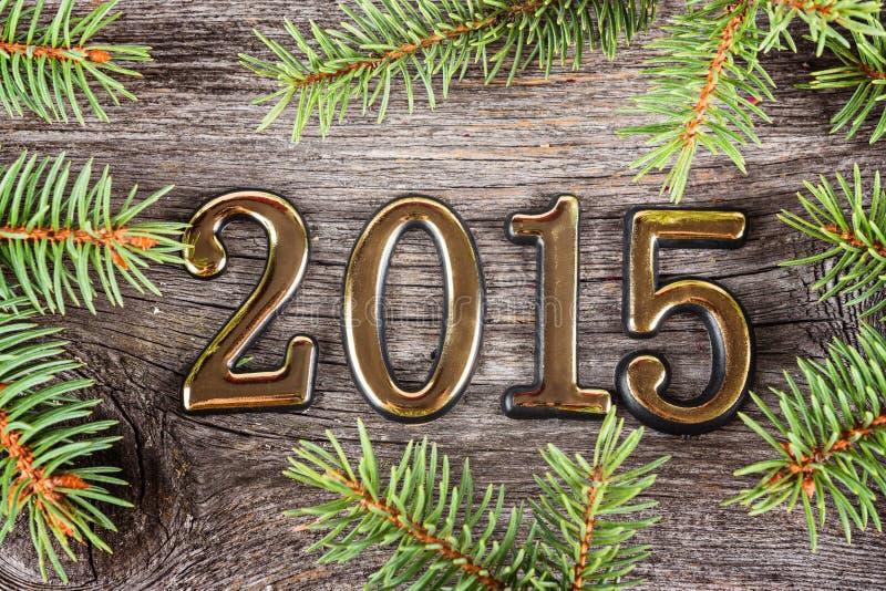 Νέο πλαίσιο έτους με τις διακοσμήσεις έλατου στοκ εικόνες με δικαίωμα ελεύθερης χρήσης