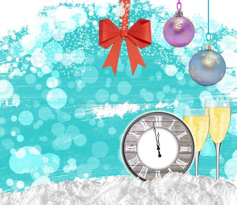 Νέο ρολόι υποβάθρου έτους με τα γυαλιά σαμπάνιας και το κόκκινο τόξο στοκ φωτογραφία