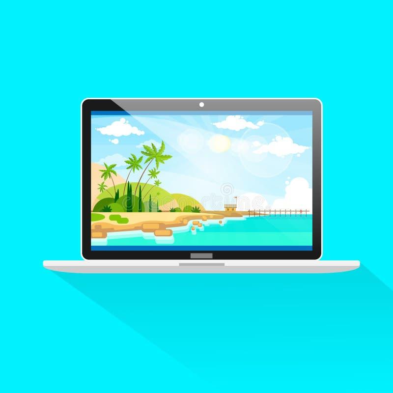Νέο σύγχρονο εικονίδιο οθόνης μπροστινής άποψης φορητών προσωπικών υπολογιστών διανυσματική απεικόνιση