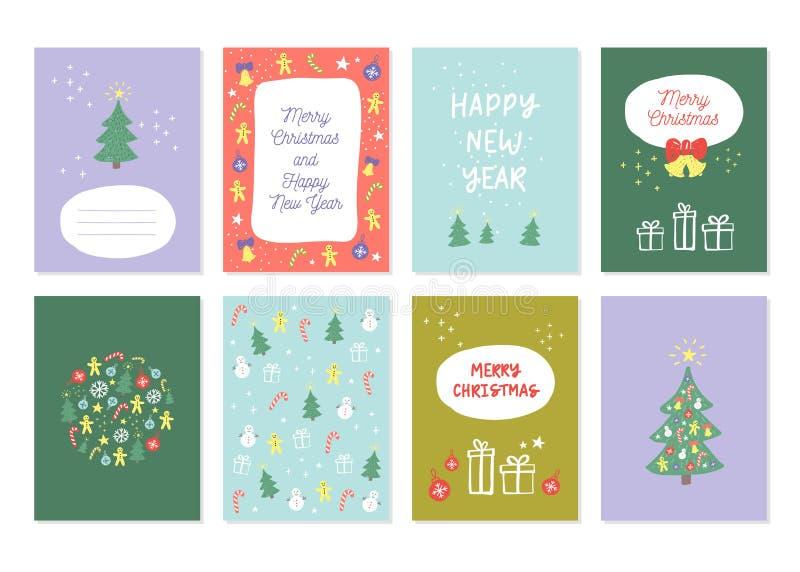 Νέο σύνολο έτους και διακοσμήσεων Χαρούμενα Χριστούγεννας διανυσματική απεικόνιση