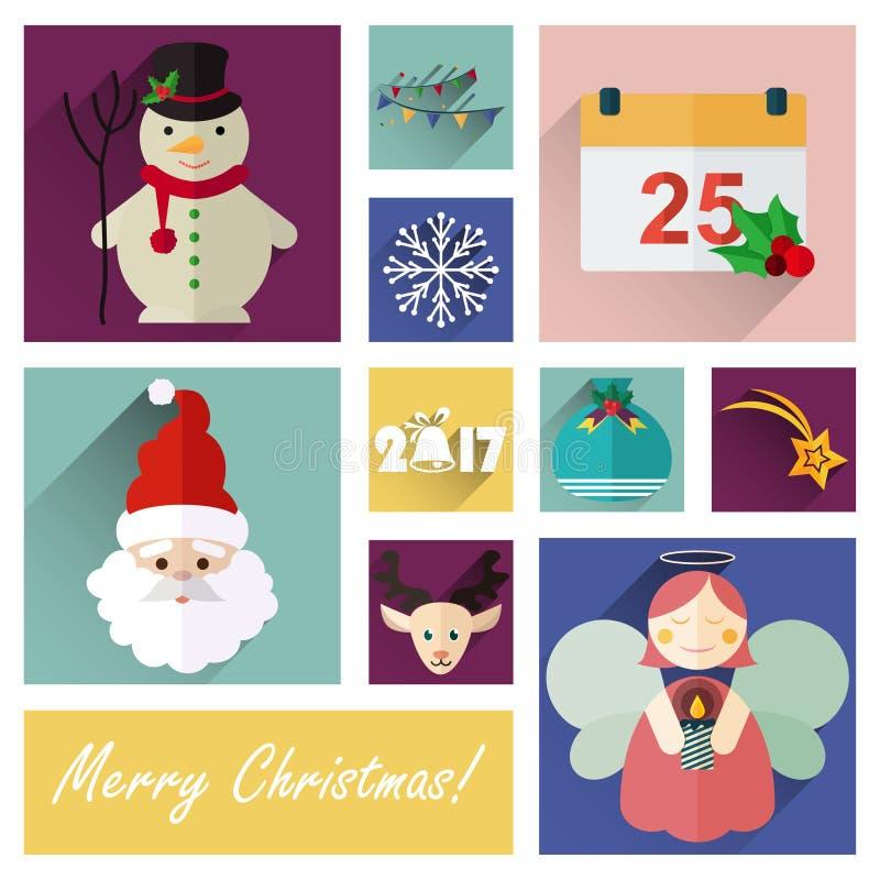 Νέο σύνολο εικονιδίων έτους επίπεδο μέρους πέντε 10 στοιχείων Χριστουγέννων ελεύθερη απεικόνιση δικαιώματος