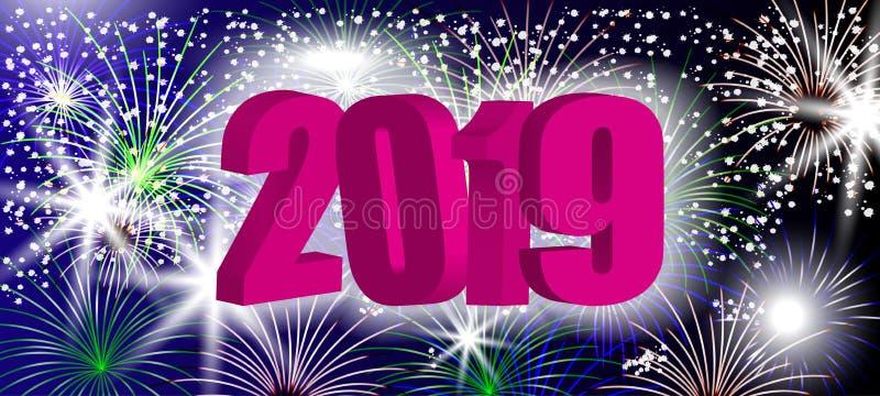 Νέο τρισδιάστατο σχέδιο 2019 έτους με τα λαμπιρίζοντας ζωηρόχρωμα πυροτεχνήματα Ρόδινος αριθμός στο υπόβαθρο διακοπών διάνυσμα ελεύθερη απεικόνιση δικαιώματος