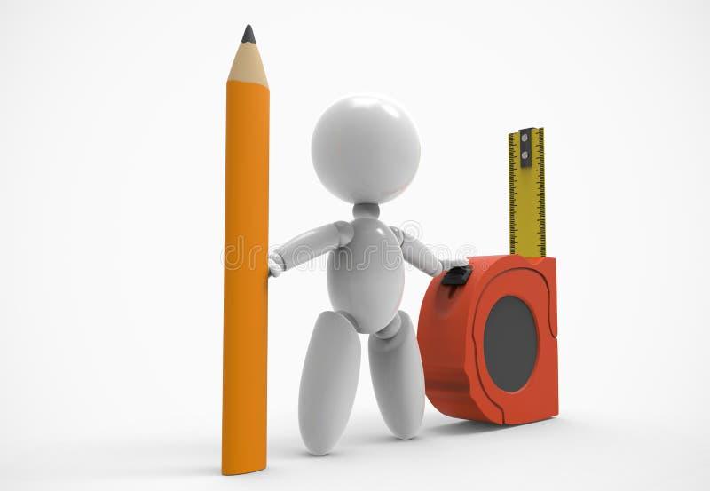 Νέο τρισδιάστατο άνθρωπος-μολύβι, που μετρά την ταινία απεικόνιση αποθεμάτων