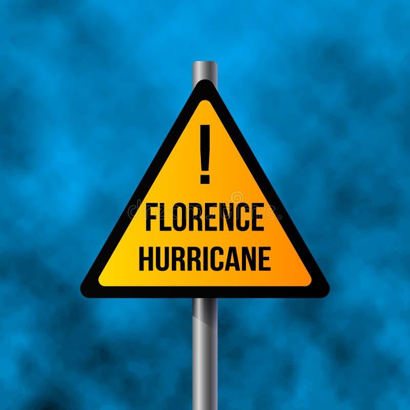 Νέο τυφώνας-τέρας Φλωρεντία και το οδικό σημάδι του τυφώνα Φλωρεντία, τρισδιάστατος-απόδοση r ελεύθερη απεικόνιση δικαιώματος