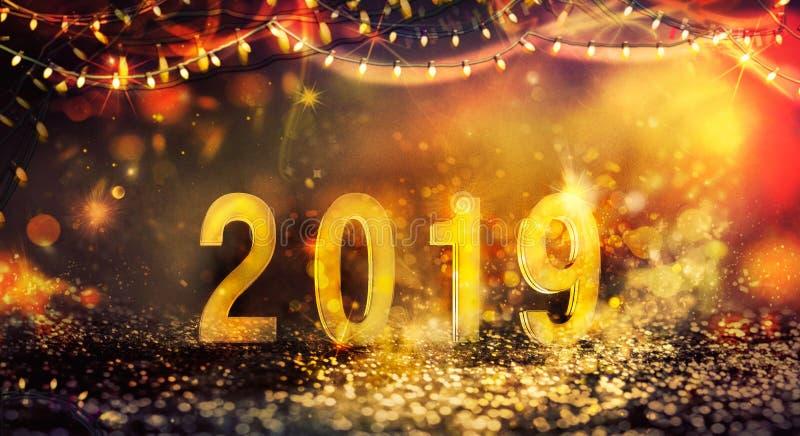 Νέο υπόβαθρο έτους με τα λαμπρά φω'τα στοκ φωτογραφία