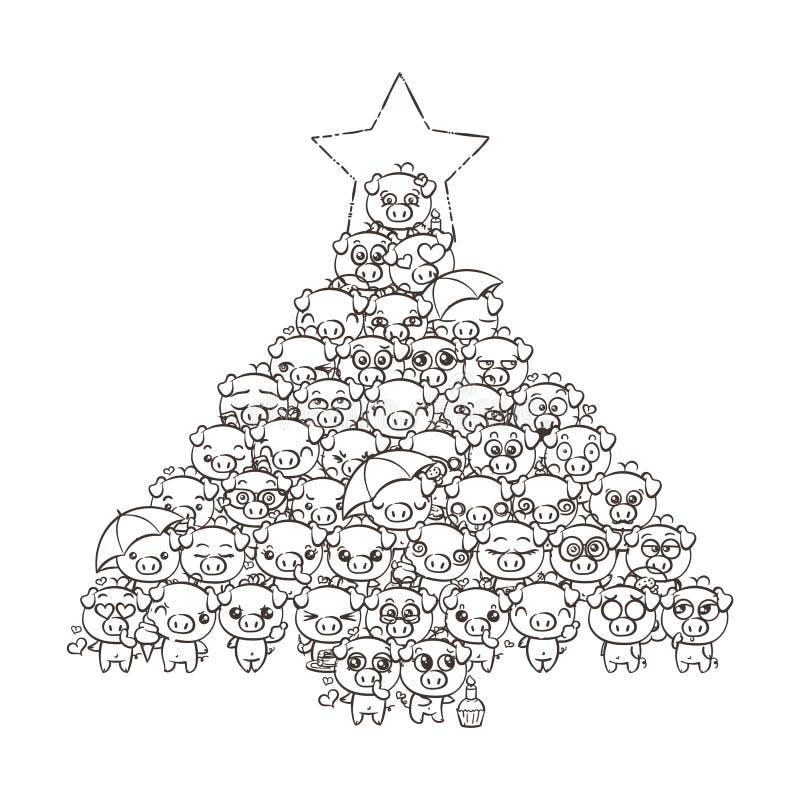 Νέο υπόβαθρο έτους με τα χαριτωμένα χοιρίδια μωρών Χοίροι kawaii εικόνας κινούμενων σχεδίων κρητιδογραφιών ελεύθερη απεικόνιση δικαιώματος