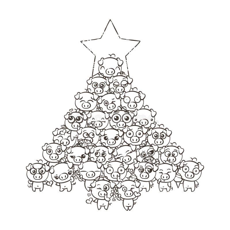 Νέο υπόβαθρο έτους με τα χαριτωμένα χοιρίδια μωρών Χοίροι kawaii εικόνας κινούμενων σχεδίων κρητιδογραφιών διανυσματική απεικόνιση