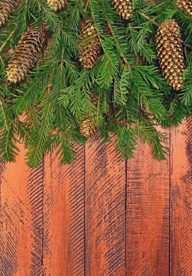 Νέο υπόβαθρο έτους σε ένα αγροτικό ύφος Κλάδοι Χριστουγέννων τ στοκ φωτογραφία με δικαίωμα ελεύθερης χρήσης
