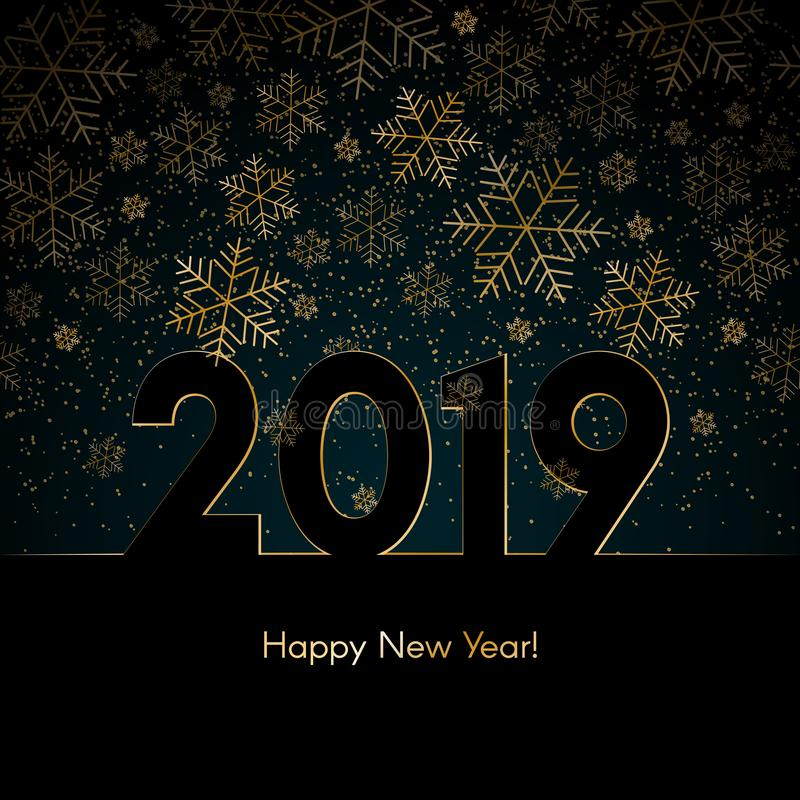 Νέο υπόβαθρο έτους Χριστουγέννων με το χρυσό snowflakes κείμενο 2019 καλής χρονιάς μπλε χειμερινού υποβάθρου σχέδιο έτους Χριστου διανυσματική απεικόνιση