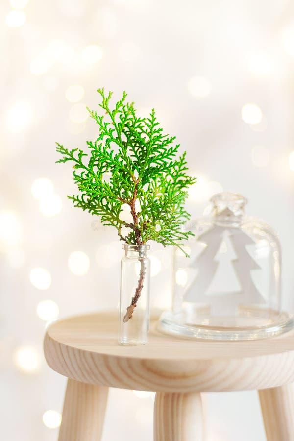 Νέο υπόβαθρο εγχώριων εσωτερικό διακοσμήσεων έτους Χριστουγέννων Πράσινος κλαδίσκος ιουνιπέρων στην ξύλινη διακόσμηση δέντρων έλα στοκ εικόνες