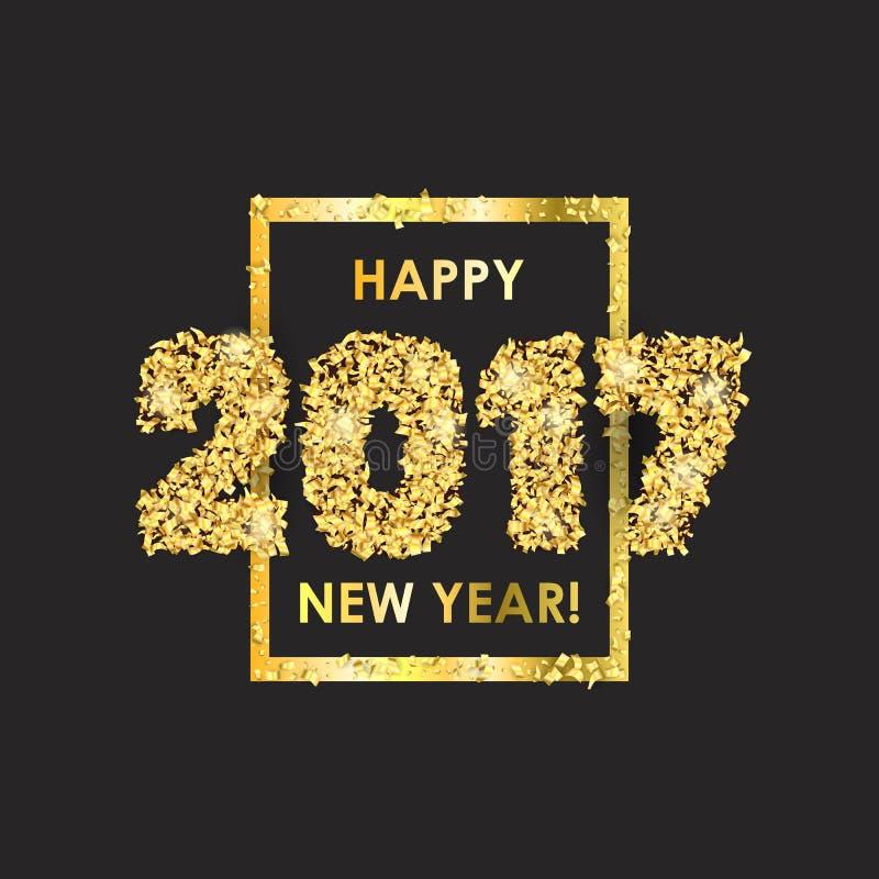 Νέο υπόβαθρο εορτασμού έτους 2017 με το κομφετί διανυσματική απεικόνιση
