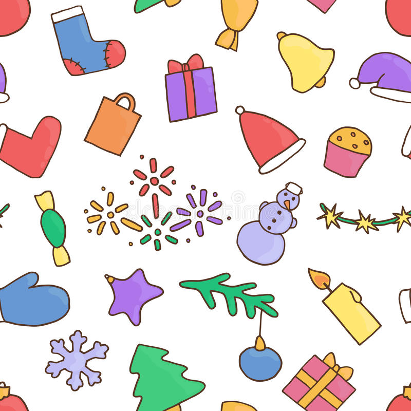 Νέο υπόβαθρο σχεδίων έτους άνευ ραφής Ταπετσαρία Χριστουγέννων textile απεικόνιση αποθεμάτων