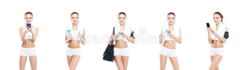 Νέο, φίλαθλο και κατάλληλο κορίτσι στο άσπρο εσώρουχο Απομονωμένο backgrou στοκ φωτογραφία