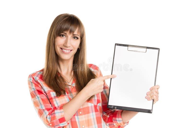 Νέο φύλλο εγγράφου εκμετάλλευσης γυναικών που απομονώνεται στο λευκό στοκ εικόνα