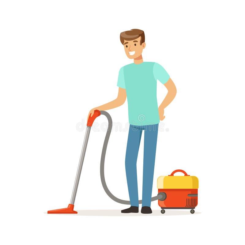 Νέο χαμογελώντας άτομο που καθαρίζει το πάτωμα με την ηλεκτρική σκούπα, σύζυγος σπιτιών που απασχολείται στο σπίτι στη διανυσματι διανυσματική απεικόνιση