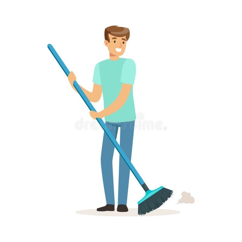 Νέο χαμογελώντας άτομο που σκουπίζει το πάτωμα, σύζυγος σπιτιών που λειτουργεί στο σπίτι τη διανυσματική απεικόνιση ελεύθερη απεικόνιση δικαιώματος