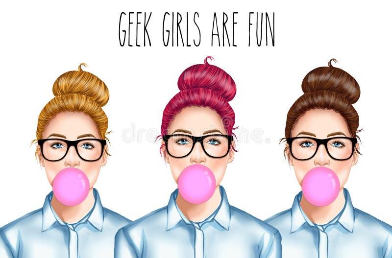 Νέο όμορφο κορίτσι με τα γυαλιά που μασά τη γόμμα φυσαλίδων διανυσματική απεικόνιση