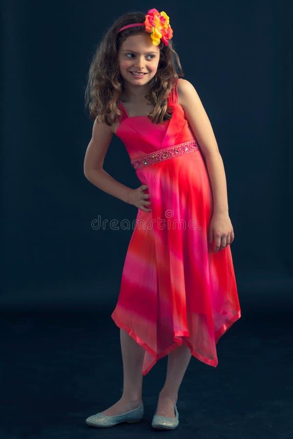 Νέο όμορφο κορίτσι με τα λουλούδια στην τρίχα στοκ φωτογραφία με δικαίωμα ελεύθερης χρήσης