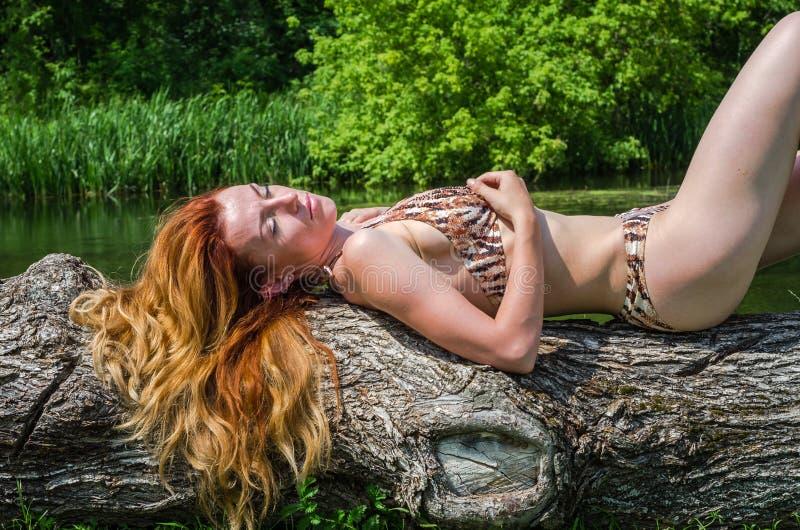 Νέο όμορφο κορίτσι σε ένα κοστούμι λουσίματος που βρίσκεται σε ένα δέντρο στην τράπεζα της ηλιόλουστης θερινής ημέρας ποταμών στοκ εικόνα