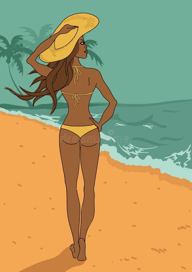 Νέο όμορφο κορίτσι στο μπικίνι στην παραλία ελεύθερη απεικόνιση δικαιώματος