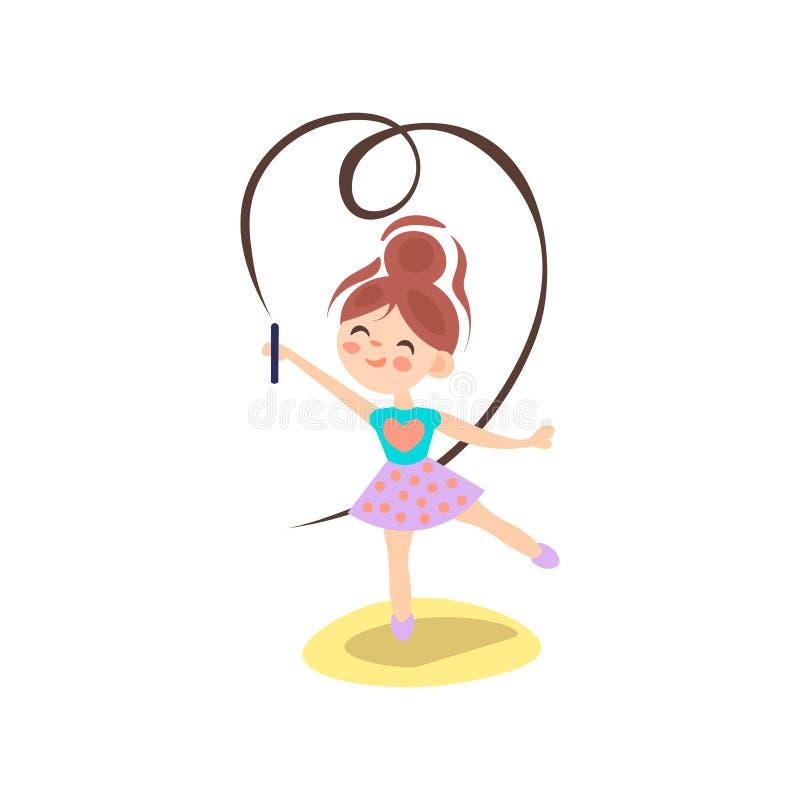 Νέο ballerina στην κίνηση Ρυθμική γυμναστική Εφηβικός αθλητισμός, υγιής τρόπος ζωής εφήβων Όμορφο κορίτσι με τις πετώντας κορδέλλ διανυσματική απεικόνιση