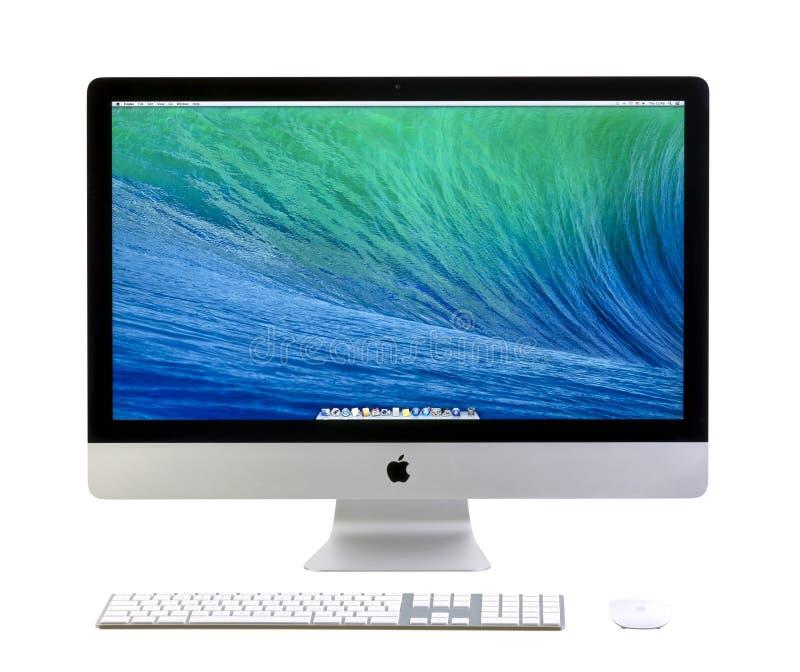 Νέο iMac 27 με το OS Χ Mavericks στοκ εικόνα
