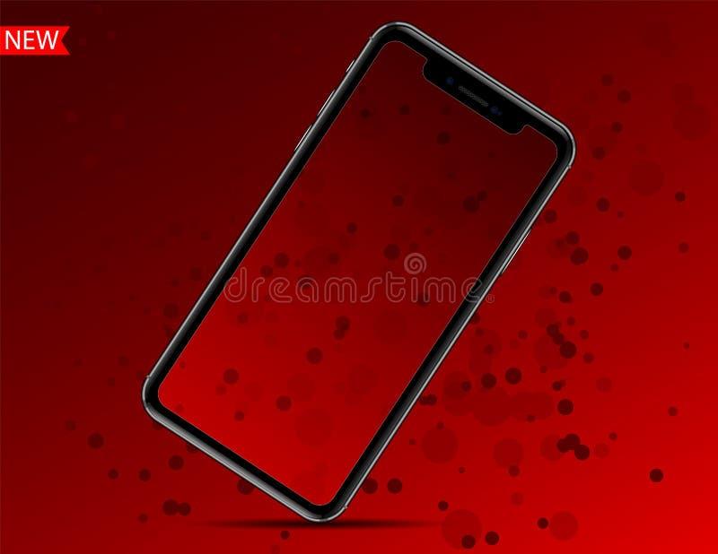 Νέο iphone Χ που απομονώνεται στο κόκκινο baground επίσης corel σύρετε το διάνυσμα απεικόνισης διανυσματική απεικόνιση