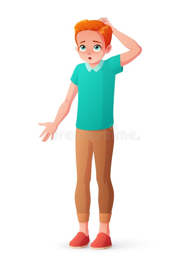 Νέο redhead γρατσουνίζοντας κεφάλι αγοριών που απαξιεί τους ώμους Απομονωμένη διανυσματική απεικόνιση απεικόνιση αποθεμάτων