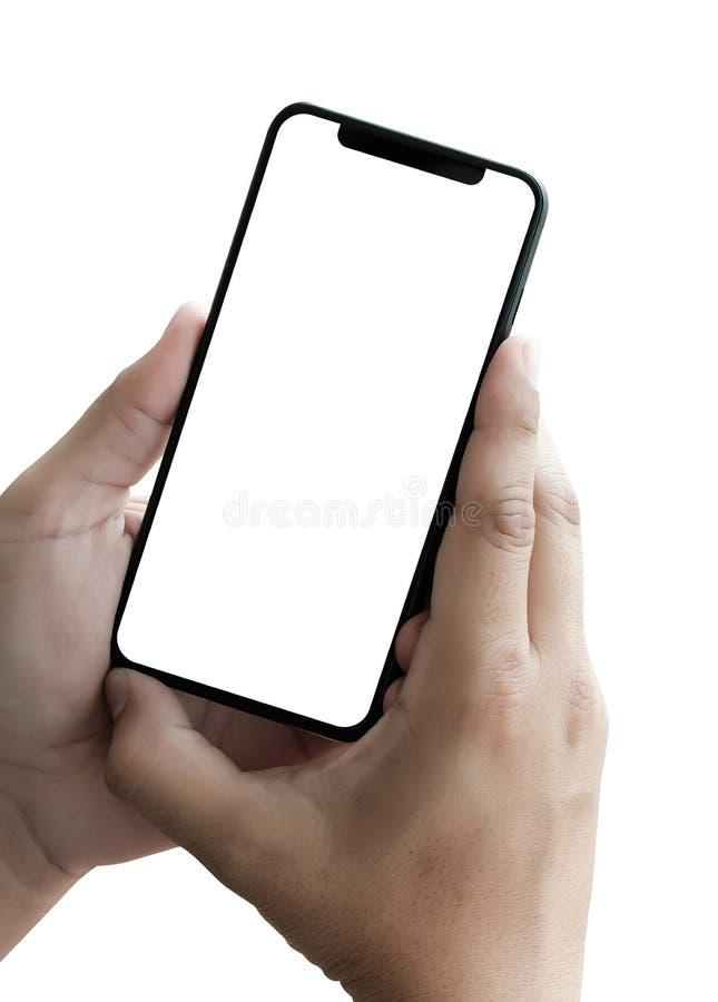 νέο smartphone τηλεφωνικής τεχνολογίας με την κενή οθόνη και το σύγχρονο fra στοκ εικόνες