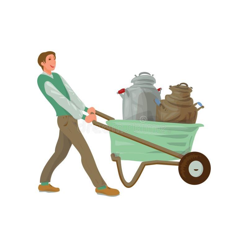 Νέο wheelbarrow χρήσης ατόμων αγροτών για να πάρει τα βαρέλια γάλακτος απεικόνιση αποθεμάτων