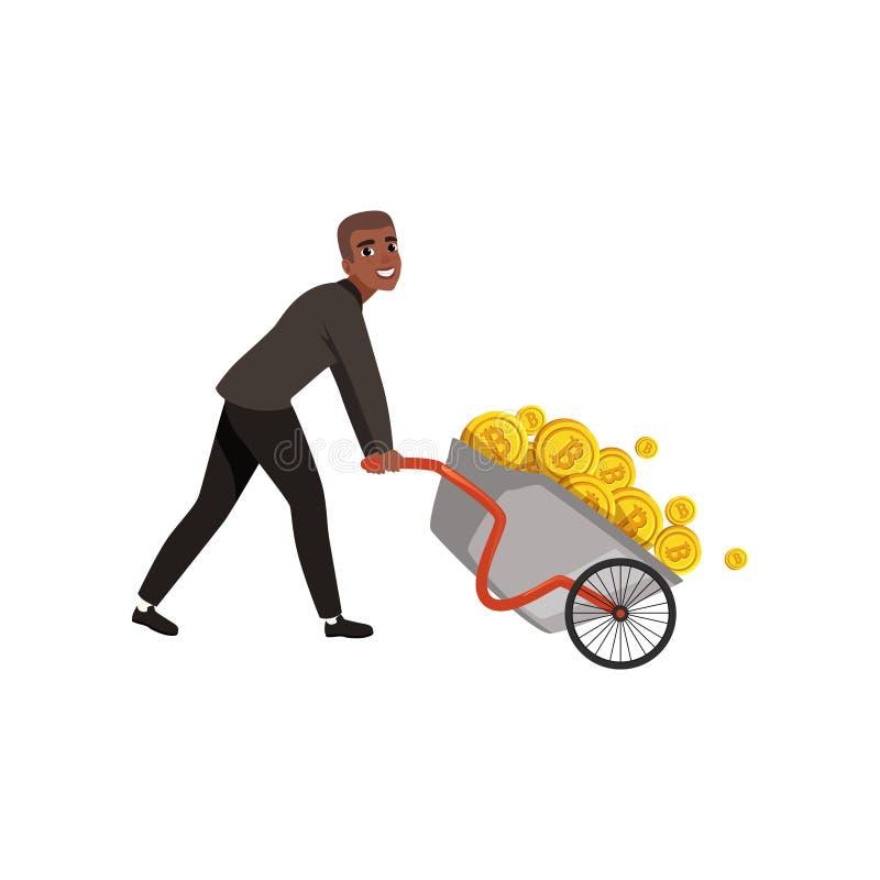 Νέο wheelbarrow ώθησης επιχειρηματιών αφροαμερικάνων σύνολο των χρυσών νομισμάτων Bitcoin και εικονικό θέμα χρημάτων πλούσιος απεικόνιση αποθεμάτων