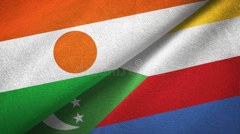 Νίγηρας και Κομόρες δύο υφαντικό ύφασμα σημαιών, σύσταση υφάσματος διανυσματική απεικόνιση