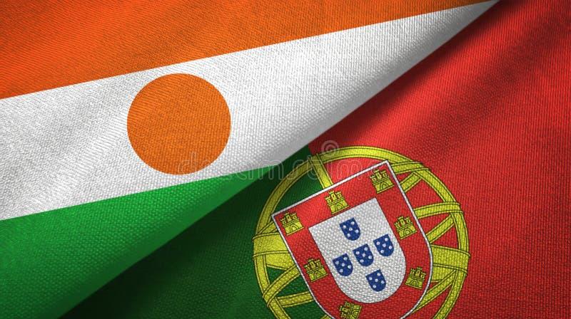 Νίγηρας και Πορτογαλία δύο υφαντικό ύφασμα σημαιών, σύσταση υφάσματος διανυσματική απεικόνιση