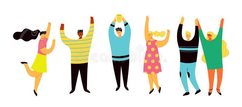 Νίκη ομάδας, χαρά με τη συνεργασία και επίτευγμα ελεύθερη απεικόνιση δικαιώματος